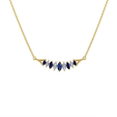Womens 1/10 CT. T.W. Blue Sapphire 10K Gold Pendant Necklace