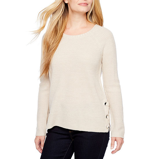 a.n.a Womens Scoop Neck Long Sleeve Pullover Sweater-Petite