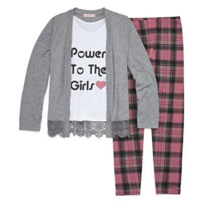 Inspired Hearts Lace Hem Cardi Legging Set - Girls' 4-16 & Plus