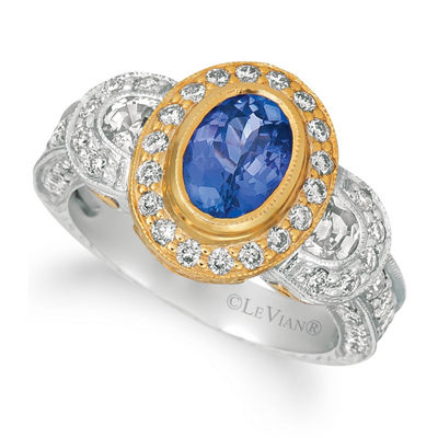 Grand Sample Sale™ by Le Vian® Blueberry Tanzanite®, Vanilla Sapphires™, and Vanilla Diamonds® Ring in 14k Two Tone Gold