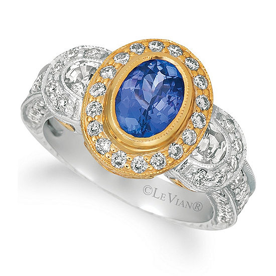 Le Vian Grand Sample Sale™ Blueberry Tanzanite®, Vanilla Sapphires™, and Vanilla Diamonds® Ring in 14k Two Tone Gold