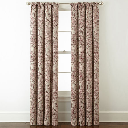 JCPenney Home Light-Filtering Rod-Pocket Single Curtain Panel, One Size , Red
