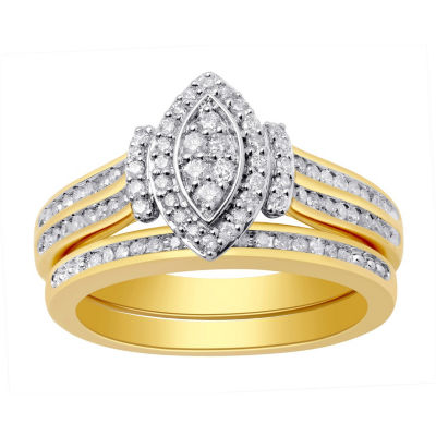 Surrounded by Love Womens 1/2 CT. T.W. Genuine White Diamond 14K Gold Over Silver Sterling Silver Bridal Set