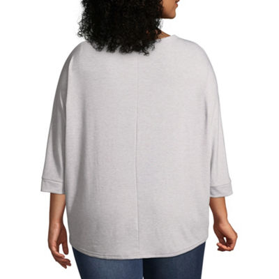 a.n.a 3/4 Sleeve Dolman Scoop Neck T-Shirt - Plus
