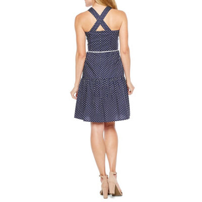 R & K Originals Sleeveless Polka Dot Fit & Flare Dress