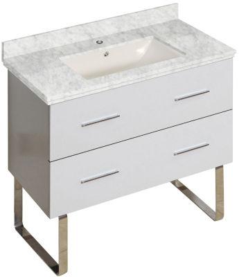 36-in. W Floor Mount White Vanity Set For 1 Hole Drilling Bianca Carara Top Biscuit UM Sink