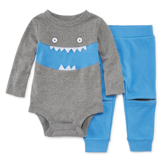 Okie Dokie Monster Long Sleeve Bodysuit and Pant Set - Baby Boy NB-24M