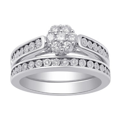 Surrounded by Love Womens 1/2 CT. T.W. Genuine White Diamond Bridal Set