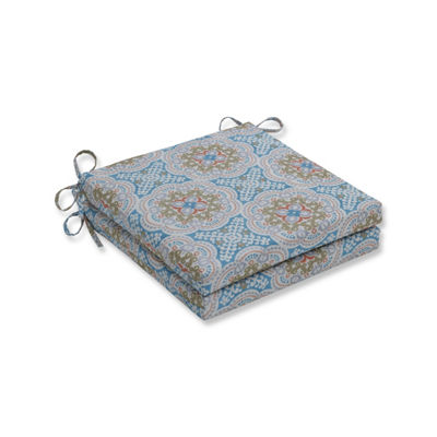 Pillow Perfect Set of 2 Astrid Aqua Oversized Squared Corners Patio Seat Cushion