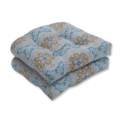 Pillow Perfect Set of 2 Astrid Aqua Wicker Patio Seat Cushion