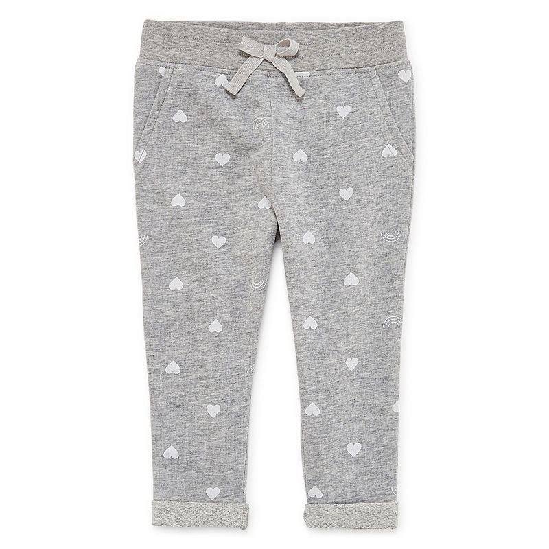 Okie Dokie Printed Pull-On Jogger Pants, Girls, Heather Gray, Size 3 Months