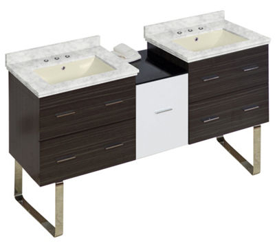 61.5-in. W Floor Mount White-Dawn Grey Vanity SetFor 3H8-in. Drilling Bianca Carara Top Biscuit UMSink
