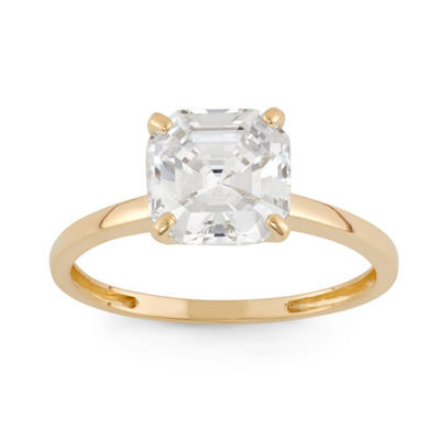 Womens 4 CT. T.W. Asscher White Cubic Zirconia 10K Gold Solitaire Ring