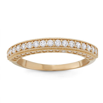 Womens 2.5mm 1/2 CT. T.W. White Cubic Zirconia 10K Gold Band