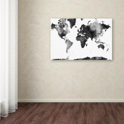 Trademark Fine Art Marlene Watson World Map BG-1 Giclee Canvas Art