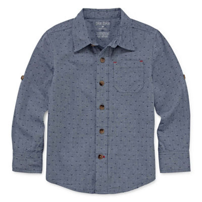 Okie Dokie Denim Long Sleeve Button-Front Shirt-Toddler Boys