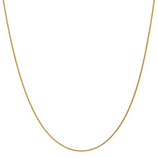 14K Gold Solid Wheat Chain Necklace