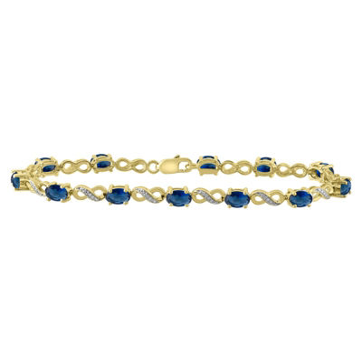 Womens 7 1/4 Inch Diamond Accent Blue Sapphire 10K Gold Over Silver Link Bracelet