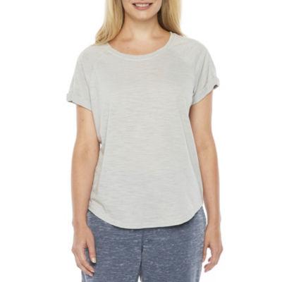St. John's Bay Active Short Sleeve Crew Neck T-Shirt-Womens Petite
