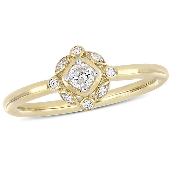 Womens 1 6 Ct Tw Genuine White Diamond 10k Gold Cluster Cocktail Ring