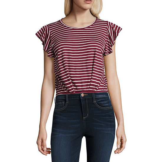 Cut And Paste-Juniors Womens Scoop Neck Short Sleeve Blouse
