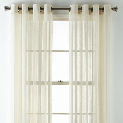 JCPenney Home Lark Hemstitch Grommet-Top Sheer Curtain Panel