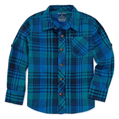 Okie Dokie Plaid Long Sleeve Button-Front Shirt-Toddler Boys