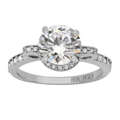 Womens White Cubic Zirconia 10K White Gold Engagement Ring