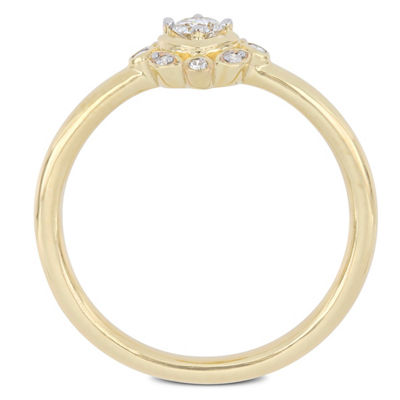 Womens 1/6 CT. T.W. Genuine White Diamond 10K Gold Cluster Cocktail Ring
