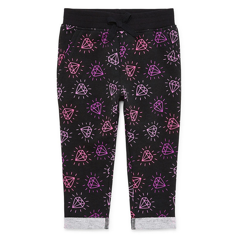 Okie Dokie Printed Pull-On Jogger Pants, Girls, Black Diamond, Size 9 Months
