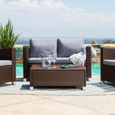 Jersey Outdoor Wicker 4 Piece Patio Set With Cushions