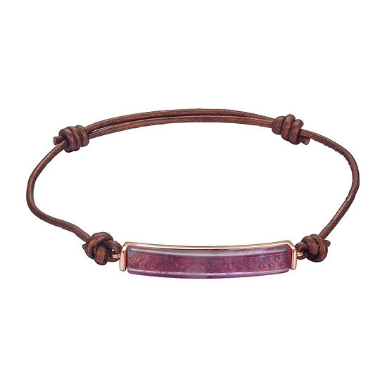 Footnotes Pink Rose Tone Pure Silver Over Brass Bolo Bracelet