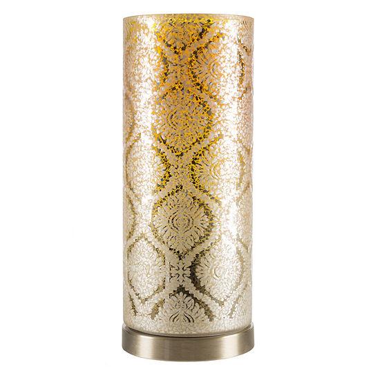 Lavish Home Glass Uplight Lamp with Moroccan Pattern