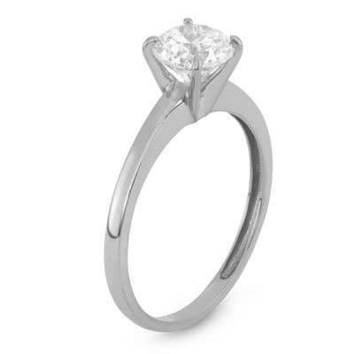 Diamonart Womens 1 CT. T.W. White Cubic Zirconia 10K White Gold Engagement Ring