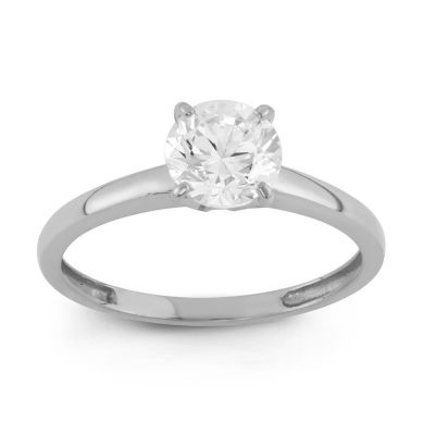 Diamonart Womens 1 CT. T.W. Round White Cubic Zirconia 10K Gold Engagement Ring