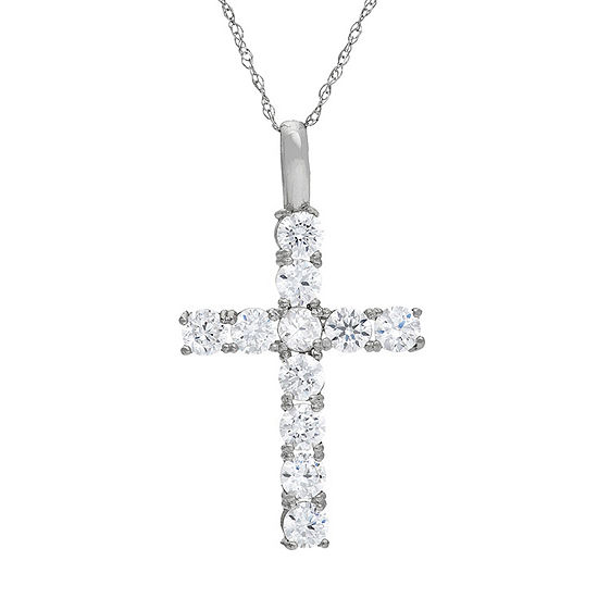 Womens 1 1/5 CT. T.W. White Cubic Zirconia 10K White Gold Pendant Necklace