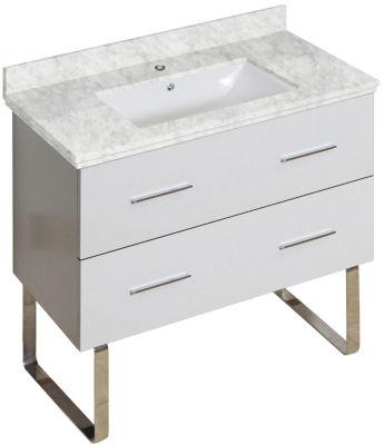 35-in. W 17-in. D Modern Plywood-Melamine Vanity Base Set Only In White