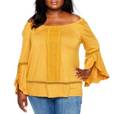 Boutique + 3/4 Sleeve Crochet Front Off The Shoulder Knit Blouse - Plus