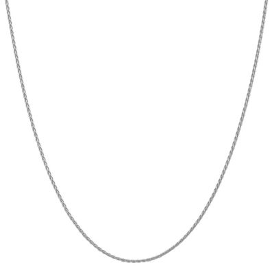 14K White Gold 14 Inch Solid Wheat Chain Necklace