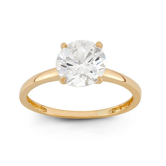 Diamonart Womens 2 CT. T.W. White Cubic Zirconia 10K Gold Engagement Ring