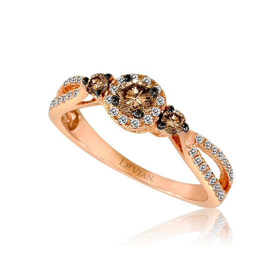 LIMITED QUANTITIES Le Vian Grand Sample Sale™ Ring featuring Chocolate Diamonds®, Vanilla Diamonds® set in 14K Strawberry Gold®