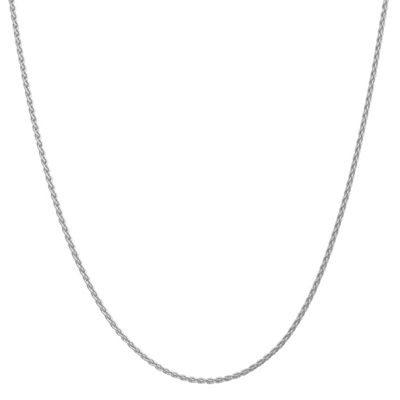 14K White Gold Solid Wheat Chain Necklace