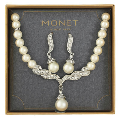 Monet Jewelry White Simulated Pearl Silver Tone 2-pc. Jewelry Set