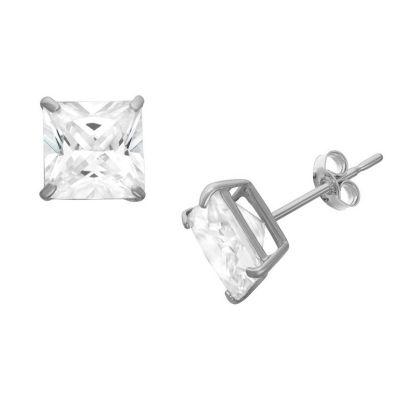 Diamonart 3/4 CT. T.W. White Cubic Zirconia Sterling Silver Square Stud Earrings