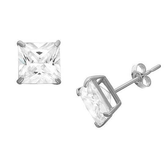 Diamonart 3/4 CT. T.W. White Cubic Zirconia Sterling Silver Square Stud Earrings
