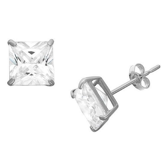 Diamonart 1 1/2 CT. T.W. White Cubic Zirconia Sterling Silver Square Stud Earrings