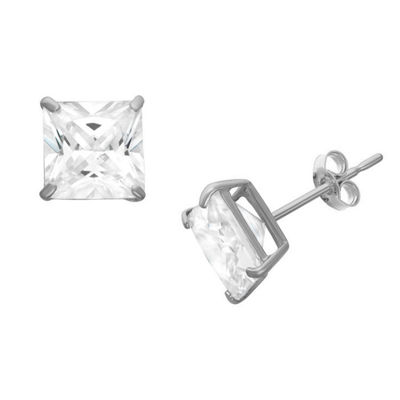 Diamonart 1 1/4 CT. T.W. White Cubic Zirconia Sterling Silver Square Stud Earrings
