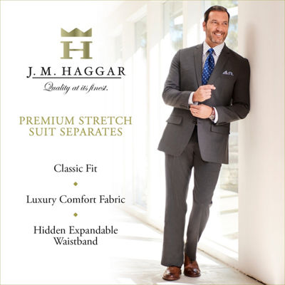 J.M. Haggar Premium Stretch Sharkskin Classic Fit Flat Front Black Suit Pant