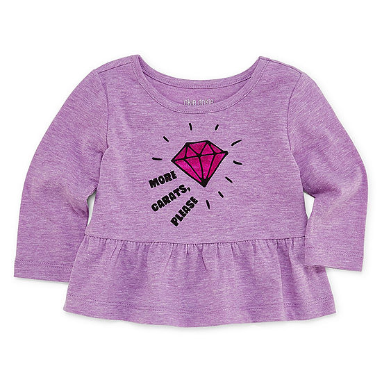Okie Dokie Girls Crew Neck Long Sleeve Peplum Top - Baby
