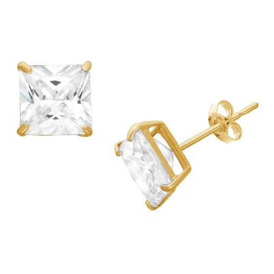 Diamonart 1 1/4 CT. T.W. White Cubic Zirconia 10K Gold Over Silver Square Stud Earrings
